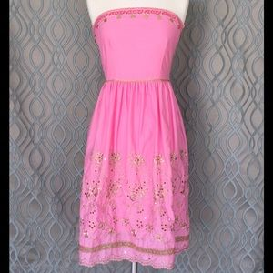 Express Embroidered Strapless Dress